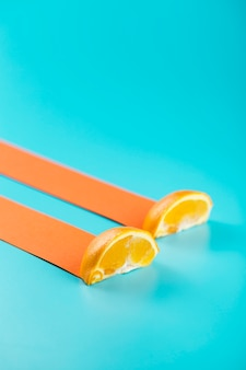 Slices of orange with abstract drift trail