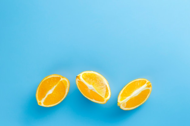 Slices of orange with copy space background