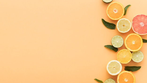 Slices of oranges and lemons copy space