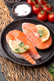 Slices of raw red salmon high view