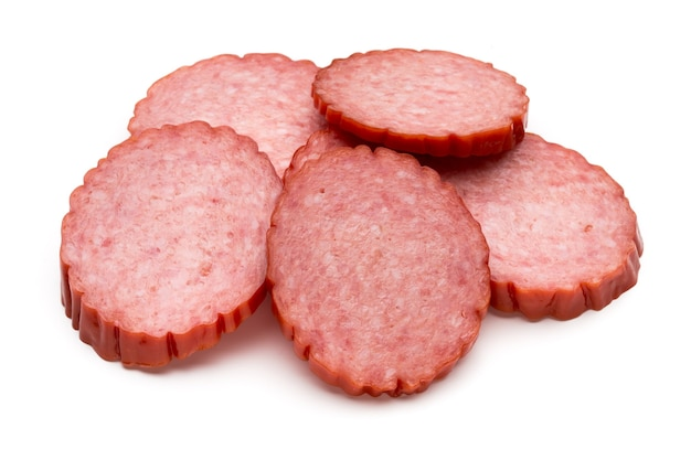 Slices of salami. isolated on white.