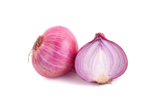 Slices of shallot onions on white space