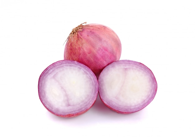 Slices of shallot onions on white