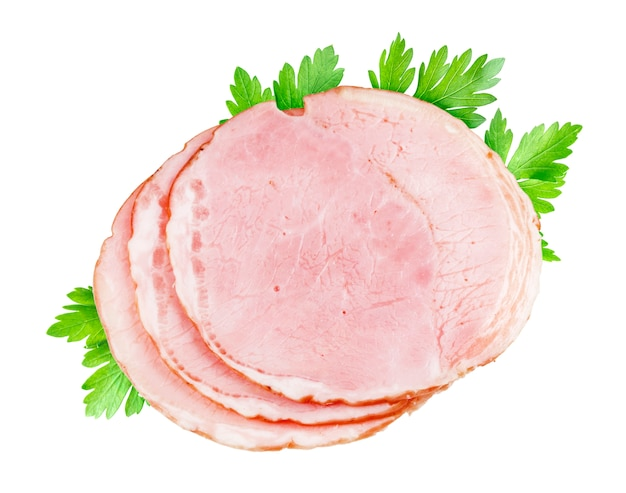 Slices of smoked ham isolated on white