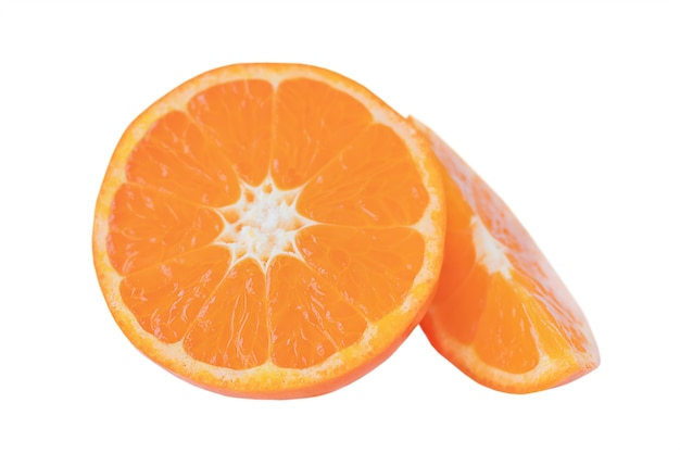 Slices of tangerines isolated