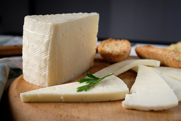 Slices of tender cow cheese