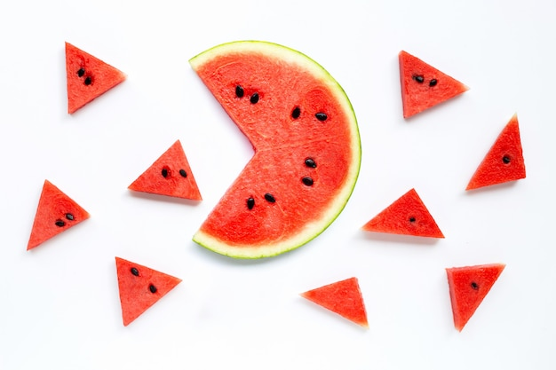 Slices of watermelon isolated on white background.