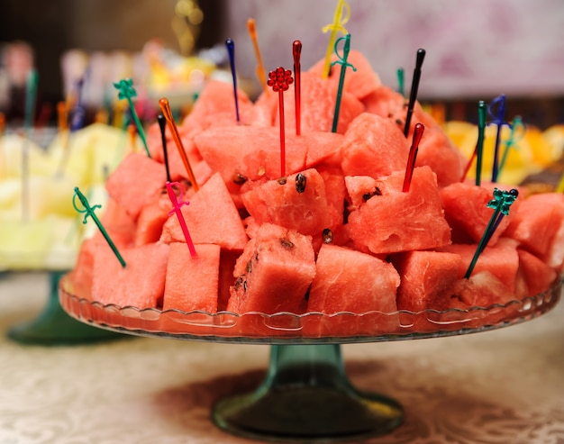 Slices of watermelon on a tray