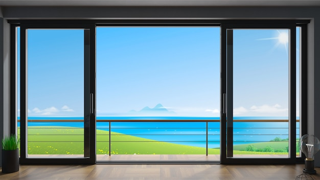 Sliding exterior door with two black shutters.