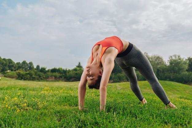 Стройная привлекательная спортсменка растягивает тело, наслаждаясь мирной атмосферой природы