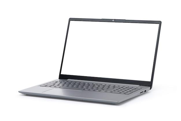 白い背景で隔離の空白の画面とスリムなモダンなラップトップコンピューター。シルバーグレーカラー。クリッピングパス。