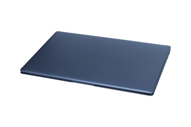 Slim modern laptop isolated on white .