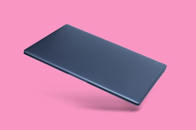 그림자와 함께 핑크에 슬림 현대 노트북.