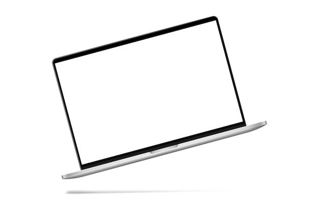 影付きの白に白い画面のモックアップを備えたスリムでモダンなノートパソコン。