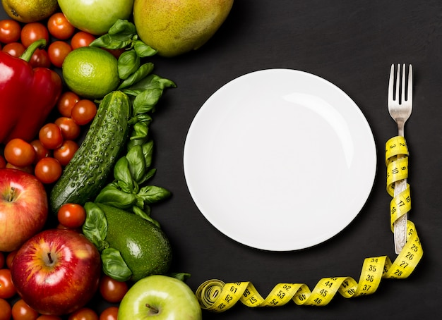 健康的な食事、ダイエット、slim身、重量損失の概念。