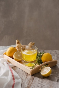 Чай для похудения с имбирем, лимоном и витаминами