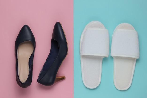 色紙のスリッパと革のハイヒールの靴
