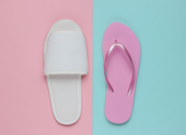 Slippers and flip-flops on colored paper