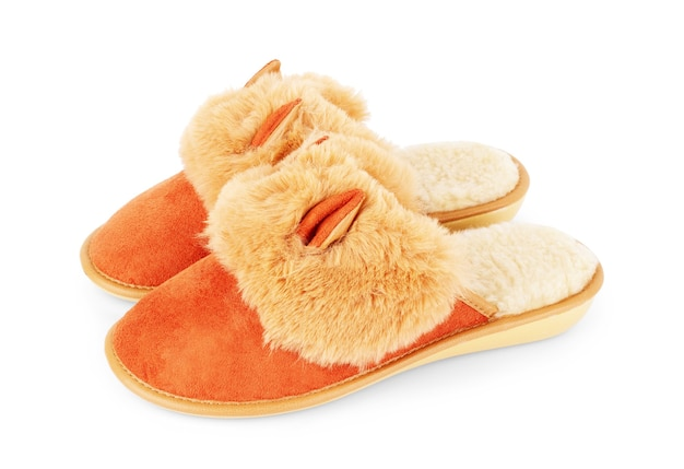 Slippers in the shape of a fox with ears isolated on a white background