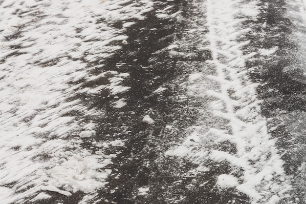 Slippery roads. track from tire tread on snow.