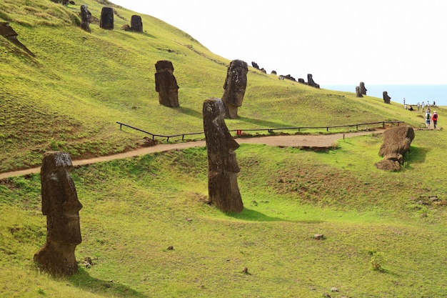 The slope full of abandoned giant moai statues of rano raraku volcano, easter island, chile