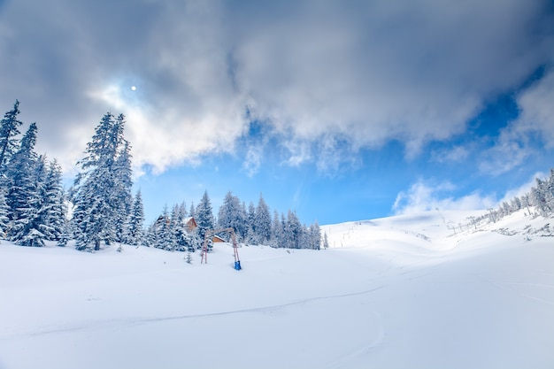 Slope on the skiing resort  in carpathians. ukraine