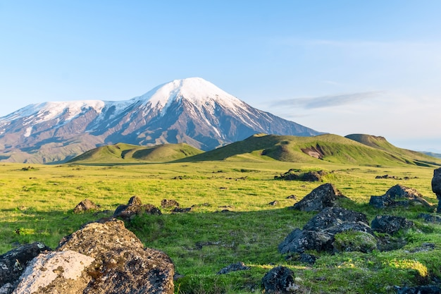 The slopes of the volcano tolbachik, kamchatka, russia