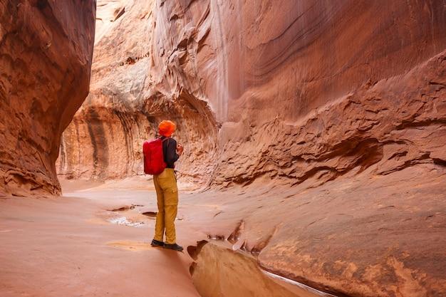그랜드 계단 escalante 국립 공원, 유타, 미국에서 슬롯 캐년. 유타 사막의 특이한 다채로운 사암 구조물은 등산객에게 인기있는 곳입니다.