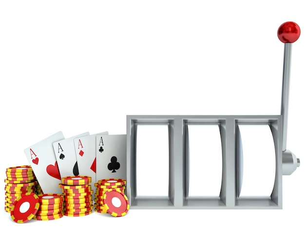 Slot machine and chips with playing cards