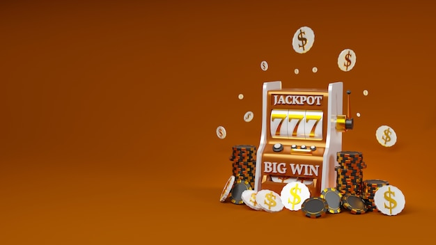 Slot machine model with casino chips and money