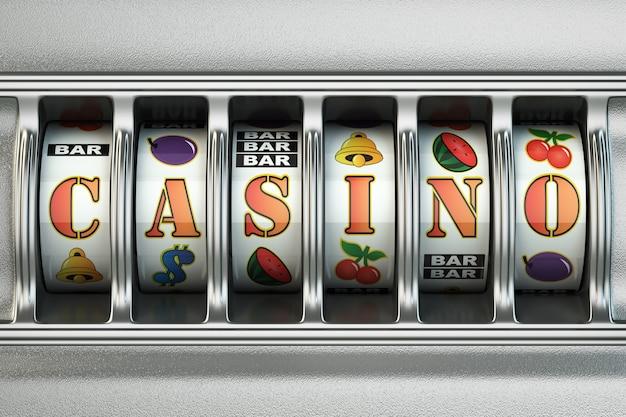 Игровой автомат с текстом казино. концепция джекпота. 3d