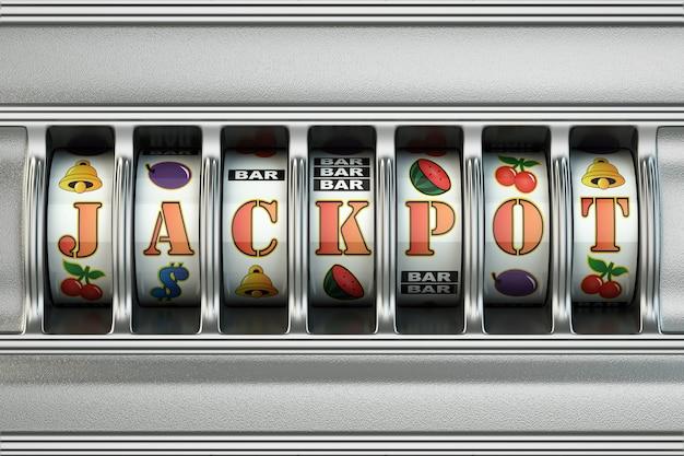 Игровой автомат с джекпотом. концепция казино. 3d