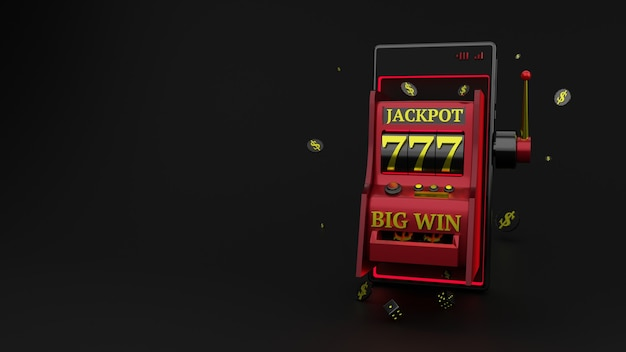 Slot machine with smartphone and chips with dice surrounded on black background, online casino concept.