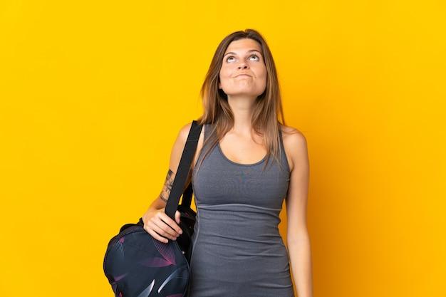 고립 된 스포츠 가방 슬로바키아어 스포츠 여자
