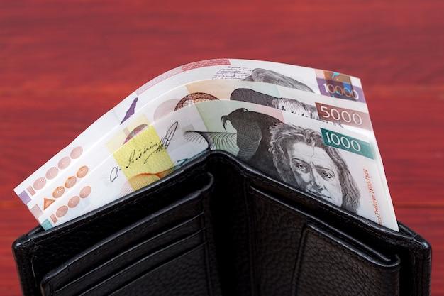 Slovenian money  tolar in the black wallet
