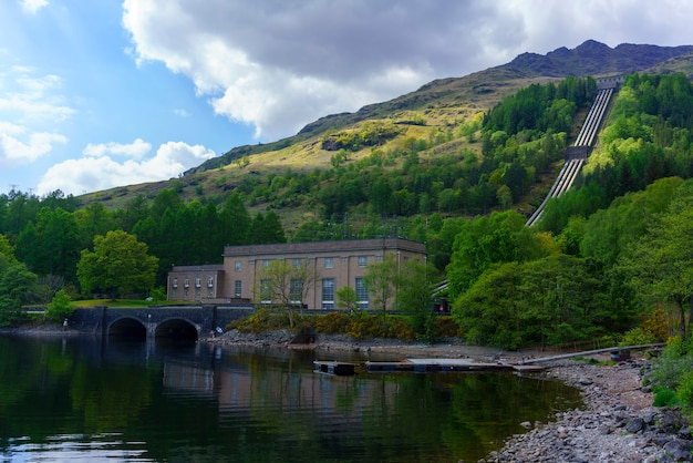 The sloy hydro-electric scheme located between loch sloy and inveruglas on the west bank of loch lomond in scotland