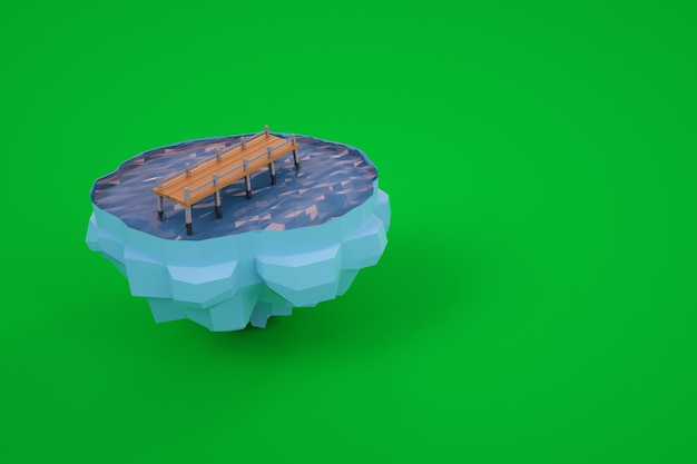 Small 3d model of a bridge across the water. small model of an island with a bridge. computer graphics. isolated bridge on a green background.