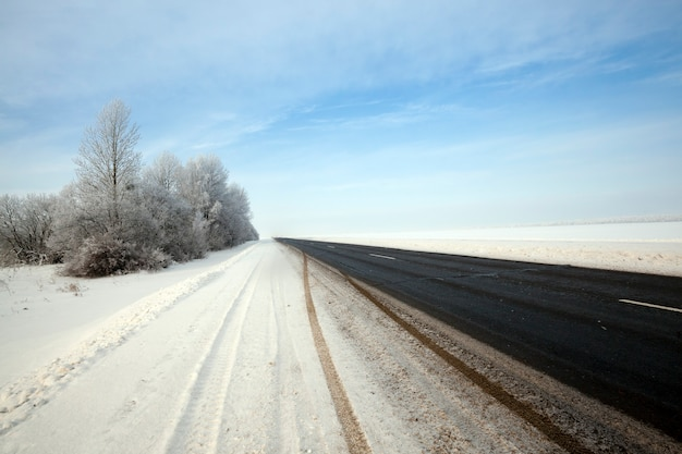 The small asphalted road. winter season