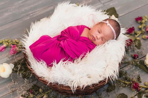 小さい、赤ん坊、ピンク、毛布