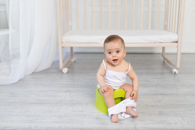 Small baby sitting on a potty, baby toilet, place for text