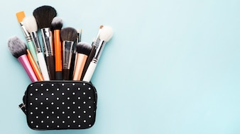 Small bag with makeup brushes