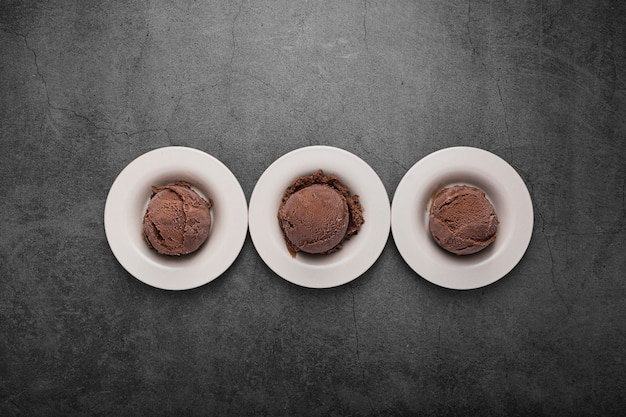 Small ball with chocolate ice cream