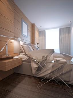 Small bedroom interior in loft style design