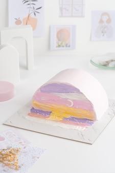 한국식 케이크와 함께 생일 선물로 작은 도시락 케이크