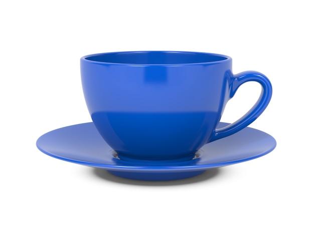 白い背景で隔離の小さな青いコーヒーカップ。