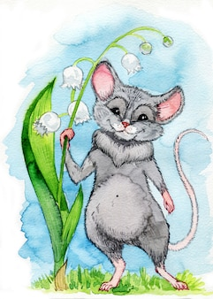 A small blue rat with big ears of a dumbo is holding on to a lily of the valley flower
