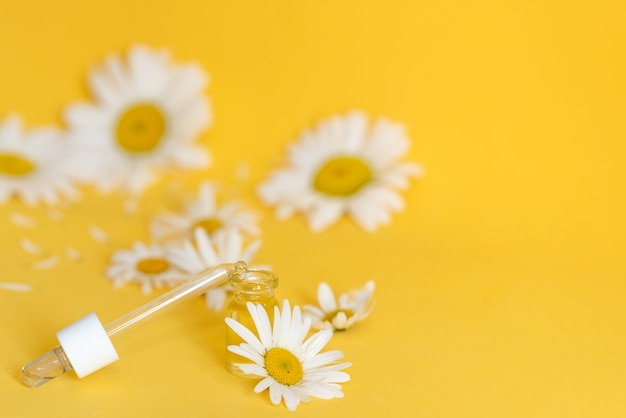 Small bottle of cosmetic chamomile oil and wooden hair comb