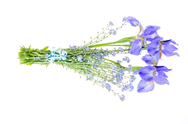 Small bouquet of blue garden flowers. photo