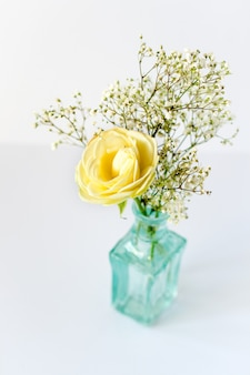 Small bouquet in blue vase