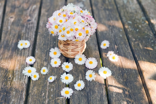 녹색 배경에 대해 그런 지 나무 보드에 컵에 데이지의 작은 꽃다발. 꽃 선물 어머니의 날 데이지 bellis perennis 정원 꽃